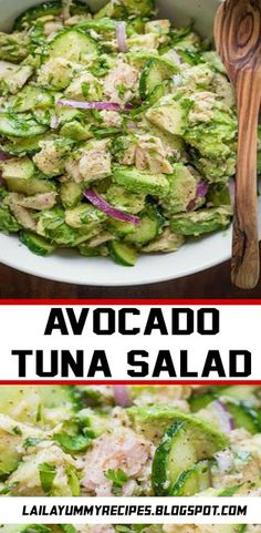 This Avocado Tuna Salad has incredible fresh flavor! Tuna Avocado Salad is loaded with protein. The avocado adds a healthy and highly satisfying creaminess. Fast Healthy Meals, Healthy Low Carb Recipes, Vegan Recipes, Avocado Tuna Salad, Food For Thought, Summer Recipes, Seafood Recipes, Protein, Food And Drink