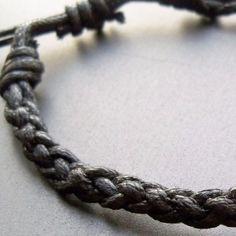 Mens simple black waxed cotton cord braided friendship by lowusu,