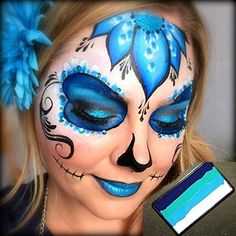 Face Paint Kryvaline Professional Face and Body Paint Lagoon with Lisa Joy Young Matching Design Sugar Skull. Adult Face Painting, Skull Painting, Face Painting Designs, Body Painting, Halloween Makeup Sugar Skull, Sugar Skull Makeup, Helloween Make Up, Sugar Skull Face Paint, Sugar Scull
