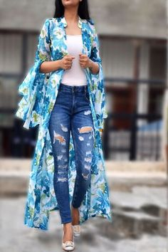 Buy this White Printed Long Shrug by Colorauction from Rs Buy this White Printed Long Shrug by Colorauction from Kimono Fashion, Fashion Wear, Look Fashion, Indian Fashion, Fashion Dresses, Fashion Clothes, Western Outfits, Boho Outfits, Casual Outfits
