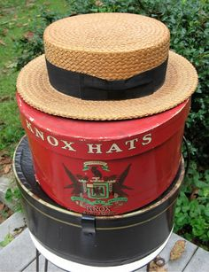 Antique Mens Straw Boater Chase & Co. New Haven, CT  7 1/4 Rare Mens Vintage Straw Boater HTF