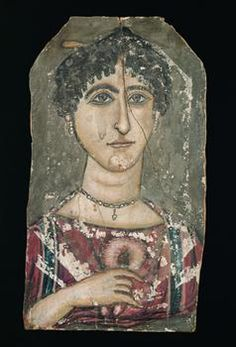 An ancient mummy portrait, 117-138, depicting a woman holding a garland of rose petals, a symbol of life. Egypt. (Kunsthistorisches Museum Vienna)