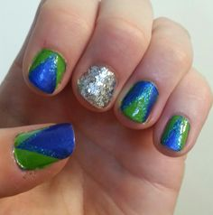 My Seahawks nails for the 9-8-13 game! GO HAWKS! Win