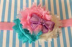 Shabby Chic Headband for Newborn Baby Girls aqua by miniMEacc, $9.99