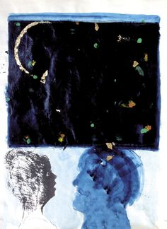 Cielo nero, tecnica mista su carta