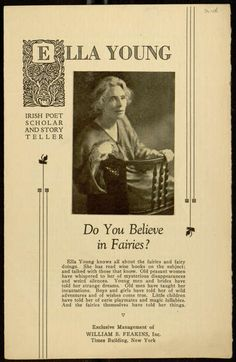 Pamphlet, Ella Young, Irish Poet Scholar and Story Teller, Do You Believe in Fairies? Wise Books, Celtic Culture, Irish Traditions, Do You Believe, Current Events, Poet, Pagan, Fairies, Mythology