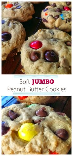Soft JUMBO Peanut Butter Cookies {PB M&Ms, Milk Chocolate Chips & Reese Cups Allowed!} via @https://www.pinterest.com/BaknChocolaTess/