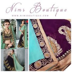 Turquoise & Purple Embroidered Sari with Unstitched Purple blouse