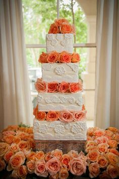 Cake and rose scarf (real flowers)