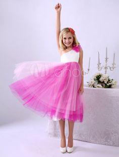 012102dbc Vestido de damitas de honor de tul con escote a un solo hombro y flor  Milanoo