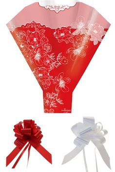 Valentine Red Rose Cellophane Bouquet Sleeve Cone Flower Sweet Cupcake Wrap Bow
