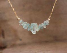 Raw Aquamarine Necklace March Birthstone Raw Stone by inbalmishan