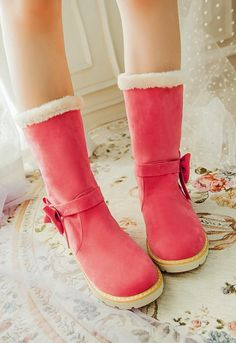 Adorable Pink Bow Winter Boots