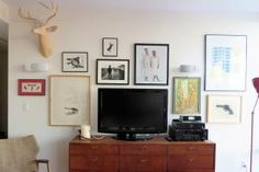The following ideas will inspire you to play with different gallery wall layouts so you can discover what works best in your space.: How to Hang Art and Pictures Around Your TV