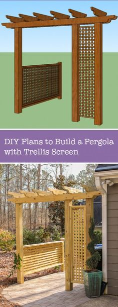 Outdoor Decorating/Gardening : Build a Pergola with Trellis to Screen Your Trash Cans Patio Pergola, Wooden Pergola, Pergola Plans, Pergola Kits, Diy Patio, Pergola Screens, Pergola Ideas, Gazebo, Backyard Projects