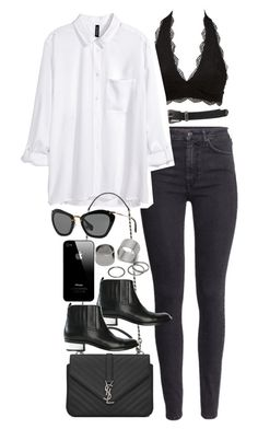 Inspired outfit for work by pagesbyhayley on Polyvore featuring polyvore, fashion, style, H&M, Charlotte Russe, Golden Goose, Yves Saint Laurent, Pieces, Miu Miu and Forever 21