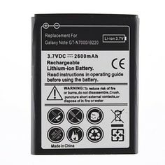 2600mAh Replacement Battery Galaxy Note GT-N7000/i9220 – EUR € 8.27