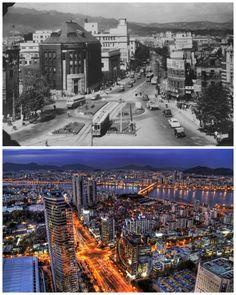 Seúl, Corea del Sur. 1950 y en la actualidad