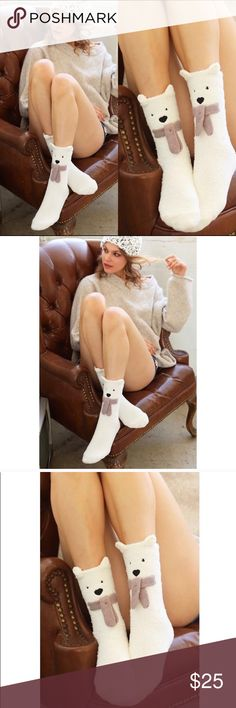 Polar Bear ❄️ Fuzzy Winter Socks NWT micro fiber socks, VERY SOFT & COZY, with non-slip grip. Size S/M (US 6-8) and L/XL (US 9-12). Perfect holiday gift/stocking stuffer 🎁 ☃️ Other