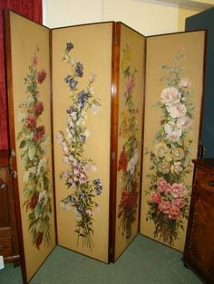 privacy dressing screens | Victorian Walnut Four Fold Dressing Screen