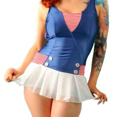 Retro swimsuit, I think my sister and I had matching ones like this when we were kids! Love the skirt!