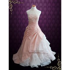 Halter Blush Pink Ball Gown Wedding Dress with Organza Ruffles (650 AUD) ❤ liked on Polyvore featuring dresses and wedding dresses