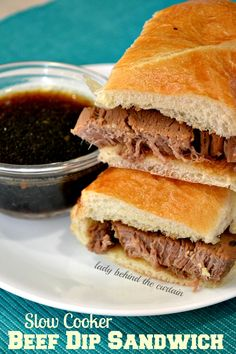 Slow Cooker Beef Dip Sandwich - Lady Behind The Curtain