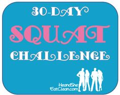 Ready for a challenge?  Try this 30-Day Squat Challenge!  For more workouts and healthy recipes visit HeandSheEatClean.com. #fitness #workout #squat #healthy