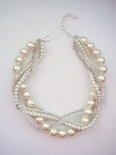 Large ivory pearl matte whit crystal silver by WildStoneJewels, $42.50