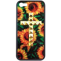 Sunflower Gold Studded Cross iPhone 5 Wildflower Case ($35) ❤ liked on Polyvore featuring accessories, tech accessories, phone cases, cases, iphone and phone