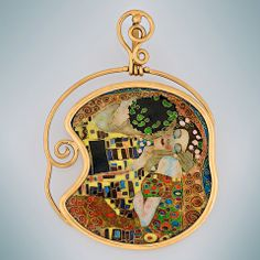 "Gustav Klimt ""KISS"" pendant in art of enamel"