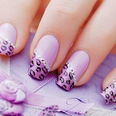 Smalto leopardato rosa con strass:-)