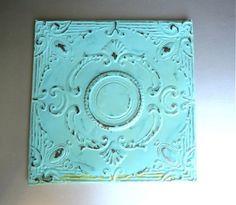 Tin Wall Decor 2'x2' antique ceiling tin tile. circa 1910. framed & ready to hang