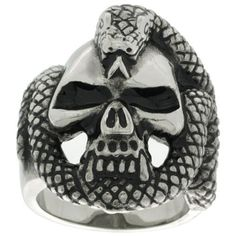 Surgical Steel Biker Ring Vampire Skull Rapped with Snake, sizes 9 - 15 Sabrina Silver. $9.95