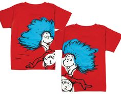 Dr Seuss Thing 1 and Thing 2 Graphic T-shirt Pair - Think Twins