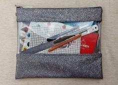 black grid clear vinyl zipper pouch, clear bag, coin purse, cosmetics bag, pencil case, organizer, small/large bag, a4/a5 document case.