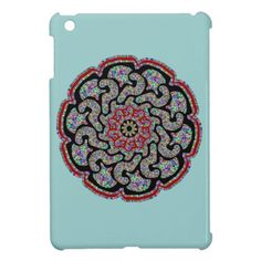 Multicolored design with black and red accents cover for the iPad mini-This item features a multicolored symmetrical design with black and red accents. The center colors in the design are pastel blue, purple, yellow, pink, green, orange and red that are all blended together.