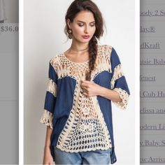 10.20 HOST PICK!The Alexa Top in Navy Navy crochet tunic top.  Small (2-4) Medium (6-8) Large (10-12)     *note the second picture shoes the back of the top in the taupe color. Tops Tunics