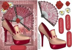Lovely fans with stunning red and cream shoe  on Craftsuprint - Add To Basket!