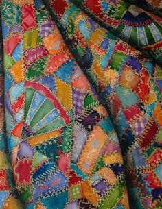 Beautiful painting of a quilt - reminds me of taking naps under a crazy quilt made by my G.Grandma and falling asleep while watching the sunlight playing through all it's many colors and patterns