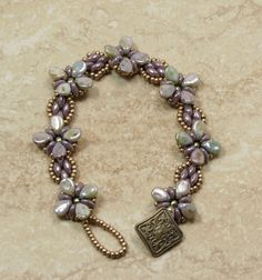 SUPERDUO PIP BEAD Bracelet-Opaque Amethyst Luster Superduos-Pale Olive Glass Pearls-Green Picasso Pip Beads-Champagne Seed Beads- (PIP4) by CinfulBeadCreations on Etsy