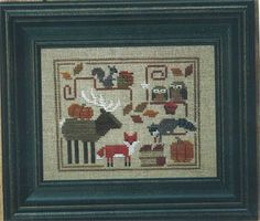 Bent Creek Oodles of Autumn - Cross Stitch Pattern. Model stitched on 32 Ct. Linen (color of your choice) over two using Gentle Art Sampler threads, Weeks Dye W