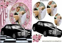 PINK ROSES WEDDING CAR WEDDING COUPLE OVAL PYRAMIDS on Craftsuprint designed by Nick Bowley - PINK ROSES, BLACK WEDDING CAR, WEDDING COUPLE OVAL PYRAMIDS, Makes a pretty wedding card, lots of other designs to see - Now available for download!