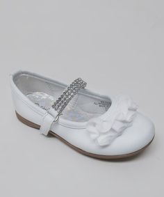 Take a look at this White Rhinestone Ruffle Kelly Mary Jane by Little Angel on #zulily today!
