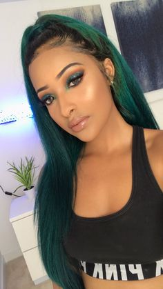Buy this high quality wigs for black women lace front wigs human hair wigs african american wigs the same as the hairstyles in picture Frontal Hairstyles, Weave Hairstyles, Black Girls Hairstyles, Pretty Hairstyles, Green Hair, Pink Hair, Lace Front Wigs, Lace Wigs, Curly Hair Styles