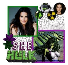 """""""Angie Harmon as She Hulk"""" by liesle ❤ liked on Polyvore featuring art"""