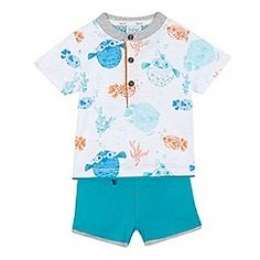 Baker by Ted Baker - Baby boys' multi-coloured fish printed t-shirt and shorts set