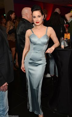 Dita von Teese stuns in plunging grey gown at the Vienna Ball Dita Von Teese Show, Dita Von Teese Style, Hourglass Outfits, Dita Von Tease, Grey Gown, Blue Gown, Moda Chic, Silk Gown, Curvy Fit