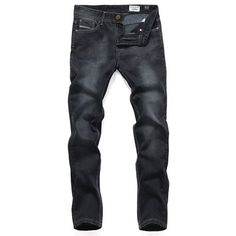 brand new f5588 23faf Mens Jeans Washed Star Style Straight Leg Cotton Jeans Dark Jeans, Jeans  And Boots,