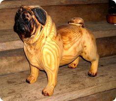 Animal Tree Carvings | carved pug